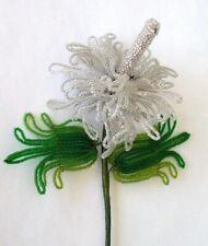 """Vintage handmade French Beaded Flower. Iridescent  Rose of Sharon 14"""""""