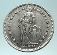 1963 SWITZERLAND - SILVER 2 Francs Coin HELVETIA Symbolizes SWISS Nation i82299