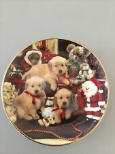 """Franklin Mint Lab Pups Christmas Cheer Royal Doulton 8"""" Collector Plate"""