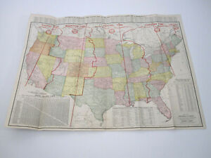 Antique 1920's US Travel Map Transportation Guide Rand McNally Warren Harding