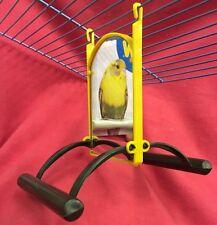 Bird Toy Double Sided Mirror & Perches Interactive Budgie Canary Cockatiel Finch