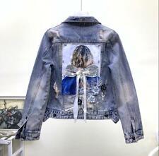 Women's Blue Denim Comfort Ripped Jean Jacket Casual Coat Back Bow Girl Decor