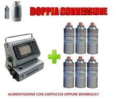 STUFA STUFETTA PORTATILE A GAS DOPPIA CONNESSIONE CON INCLUSE 6 CARTUCCE A GAS