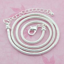 10pcs Silver /P Lobster Clasp Snake Chain Necklace Fit European Beads 50cm L12