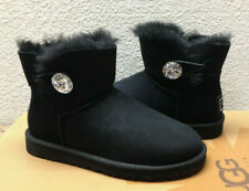 UGG MINI BAILEY BUTTON BLING BLACK SWAROVSKI CRYSTAL BOOT US 11 / EU 42 / UK 9