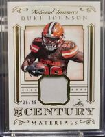 2015 National Treasures Century Materials Gold DUKE JOHNSON RC Jersey Patch /49