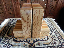 NEW ZEALAND Sovereign Timbers BOOK ENDS 7 Different Species of Wood Wooden INLAY