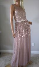 $230new ASOS chiffon confetti overlay STUNNING maxi dress us 8 m in vintage pink