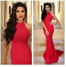 Charming Red Mermaid Lace High Neck Evening Dress Pageant Celebrity Prom Dresse