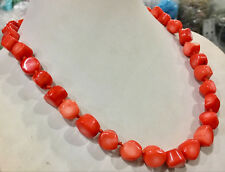 "Natural Orange red coral 10-12mm irregular bead necklace chain gemstone 18"""