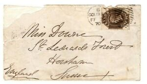 Ceylon QV cover w/9d stamp to England.1870