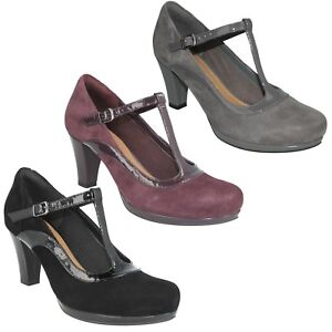 LADIES CLARKS SUEDE LEATHER T-BAR BUCKLE SMART FORMAL COURT SHOES CHORUS PITCH