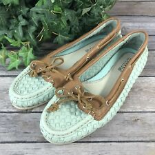 Sperry Top Sider Womens US 7M Boat Shoe Flats - Mint Brown Woven Leather $115