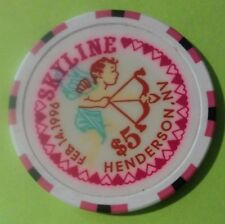 1996 SKYLINE CASINO HENDERSON, NV. $5.00 VALENTINE'S CHIP GREAT FOR COLLECTION!