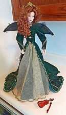"FRANKLIN MINT REJOICING ANGEL 21"" PORCELAIN DOLL W/STAND AND VIOLIN"