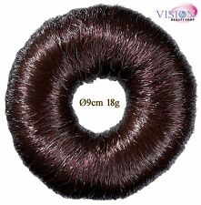 Haarunterlage, Duttring, Knotenring, Hochsteckring-Braun-MIT HAAR-mittel Ø9cm