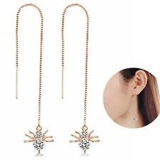 Elegant Gold Color Spide Long Chain Dangle Earrings Jewelry For Women 1 Pair