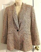 Austin Reed Petite Vintage Women's Pink & Black Tweed 100% Silk Blazer size 6
