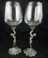 Baker Art Foundry Vintage 1985 Carmel Studios Pewter Woman Man Goblets Glasses