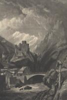 Castle Landeck Austria Germany Hill Castle Mountain River - c1850 Engraved Print