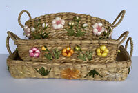 Vintage Casserole Pyrex Corning Ware Dish Basket Holders With Raffia  Flowers
