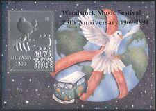 Guyana 1994 Woodstock/Music/Dove/Birds/Guitar/VW Camper/Embossed s/a m/s (s1467)