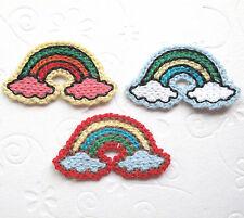 "US SELLER - 12 x (1 5/8"") Machine Crocheted Rainbow on Cloud Appliques ST270"