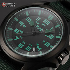 SHARK ARMY Sport Black Date Nylon Strap Analog Mens Military Quartz Wrist Watch