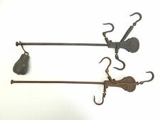 Two Antique Old Used Metal Cast Iron Scale Weight Balance Arms Parts Hardware