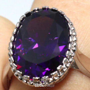 Faceted Amethyst Ring 925 Sterling Silver Natural Amethyst Purple Ring-H223