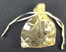 Organza Bag Yellow with Hearts 7x9cm Party Wedding Gift Jewelry Treat Favor 20ct