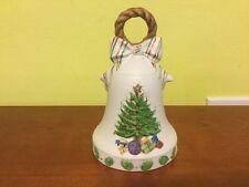 Vtg 1970s Porcelain Xmas Tree Bell Shaped Music Box