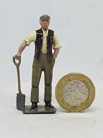 Britains 54mm hollow-cast lead navvy with shovel figure (646)