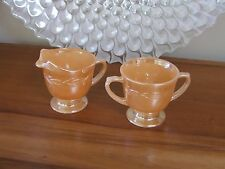 VINTAGE  LUSTRE WARE MILK JUG & SUGAR BOWLl Fire King Oven Ware made USA AS NEW