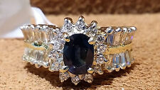 14k Yellow Gold Coctail Ring with Natural Sapphire 0.67CT.and 1.50cts. Diamonds