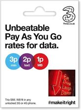 Three UK Brand New SIM Card Pay As You Go Combi  3G/4G  £10 Bundle - 4GB Data !!