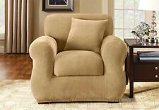 Sure Fit Stretch Pique Chair Slipcover Cream Separate Seat Box Style Cushion 2pc