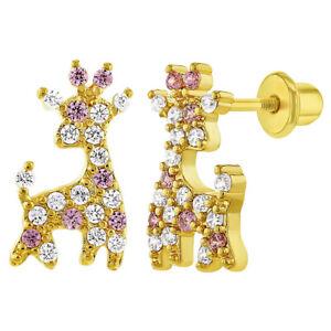 Pink & Clear Cubic Zirconia Giraffe Screw Back Earrings for Young Girls 7mm