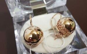Earrings balls Russian gold Rose 14K 585 NEW USSR Soviet style Original100% RARE