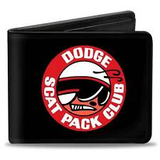 Men Wallet Bifold Black DODGE SCAT PACK CLUB Bumblebee Logo Genuine