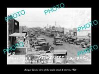 OLD LARGE HISTORIC PHOTO OF BORGER TEXAS, THE BUSY MAIN STREET & STORES c1920