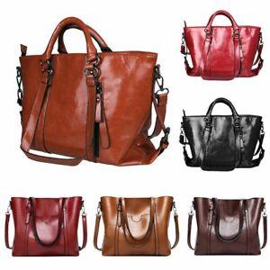 Women Oiled Leather Handbag Ladies Messenger Briefcase Tote Purse Shoulder Bag