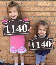 "Arched House Number Sign Address Plaque  1/4"" King ColorCore Brown/Tan"