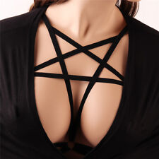 Sexy Goth Pentagram Lingerie Elastic Harness Cage Bra Cupless Body Chain