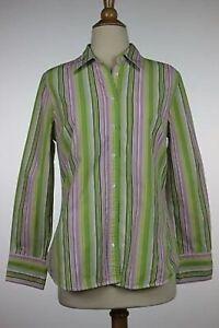 J Crew Womens Top Size M Green Striped Blouse Cotton Button Down Shirt