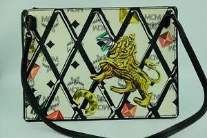 100% Authentic MCM White Visetos LION THEME Limited Ed Pouch + Dust Bag