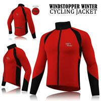 Mens Cycling Winter Windstopper Jacket Thermal Fleece Windproof Coat - Red