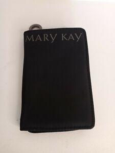 Mary Kay Black+Pink Satin Zipper Makeup Case Wallet w/ Mirror - NEW