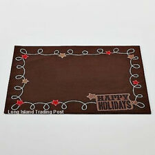 St. Nicholas Square Happy Holidays Western Suede-Look Lasso Placemat Set of (8)