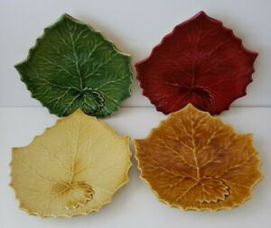 4 WILLIAMS-SONOMA Leaf Shaped Plates Red, Green, Yellow & Gold Made in Italy